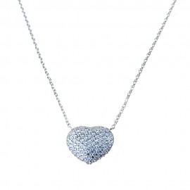 18k White gold with heart pendant and white cubic zirconia woman necklace