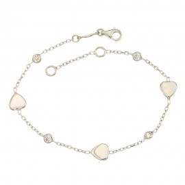 Bracciale in oro bianco 18 Kt 750/1000 con pietre e cuori da donna