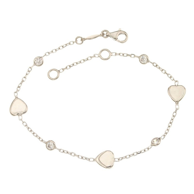 18k 750/1000 White gold with hearts and white cubic zirconia woman bangle