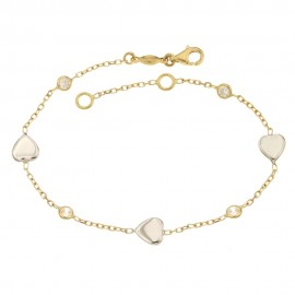 Yellow and white gold 18k 750/1000 with hearts and white cubic zirconia woman bangle