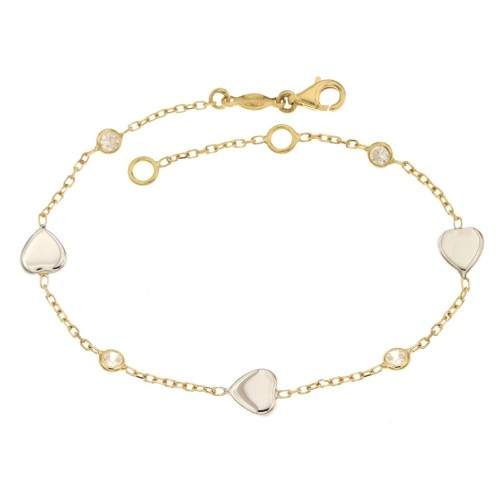 18k 750/1000 Yellow and white gold with hearts and white cubic zirconia woman bangle