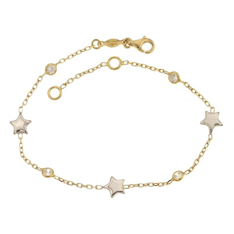 Bracciale in oro giallo e bianco 18 Kt 750/1000 con pietre e stelle da donna