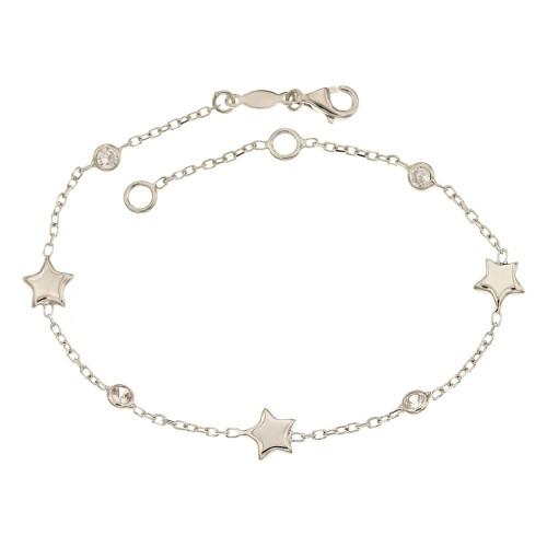 Bracciale in oro bianco 18 Kt 750/1000 con pietre e stelle da donna