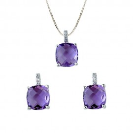 White gold 18Kt 750/1000 and purple stones necklace + earrings woman set