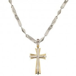 18k 750/1000 White and yellow gold length 19.70 inch with cross pendant man necklace