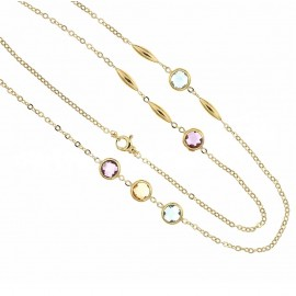 18k Yellow gold with colored stones long woman necklace