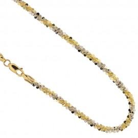 Collana in oro bianco e giallo 18 Kt 750/1000 maglia flash da donna