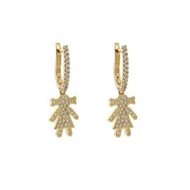 Yellow gold 18Kt 75071000 with white cubic zirconia baby girl shaped girl earrings