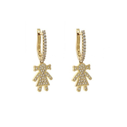 18k Yellow gold with white cubic zirconia baby girl shaped girl earrings
