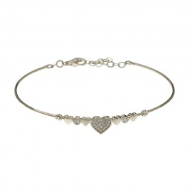 18k White gold with hearts and cubic zirconia rigid woman bangle