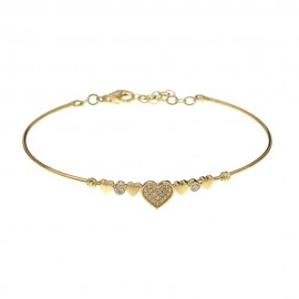 18k Yellow gold with hearts and cubic zirconia rigid woman bangle