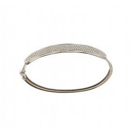 Bracciale rigido in oro bianco 18 Kt 750/1000 con zirconi bianchi da donna