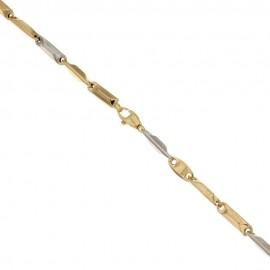 Bracciale da uomo in oro bianco e giallo 18 Kt 750/1000 modello prisma spessore 3mm