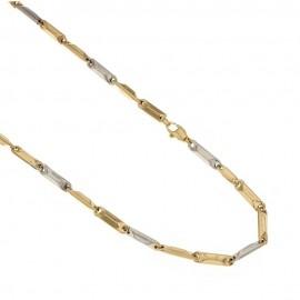 Catena da uomo in oro bianco e giallo 18 Kt 750/1000 modello prisma spessore 3mm