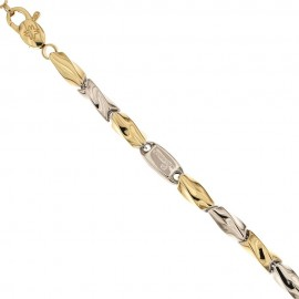 White and yellow gold 18 Kt 750/1000 Torciglione type thickness 0.18 inch man bracelet