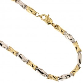 White and yellow gold 18 Kt 750/1000 Torciglione type man necklace