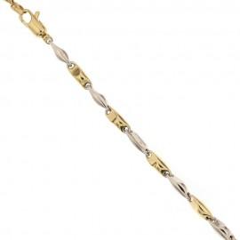 Bracciale in oro giallo e bianco 18 Kt 750/1000 maglia marina spessore 3.5 mm da uomo