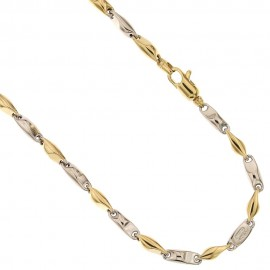 White and yellow gold 18k 750/1000 marina chain length 19.70 inch man chain