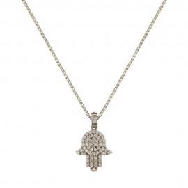 Collana in oro bianco 18 Kt 750/1000 con pendente mano di Fatima da donna