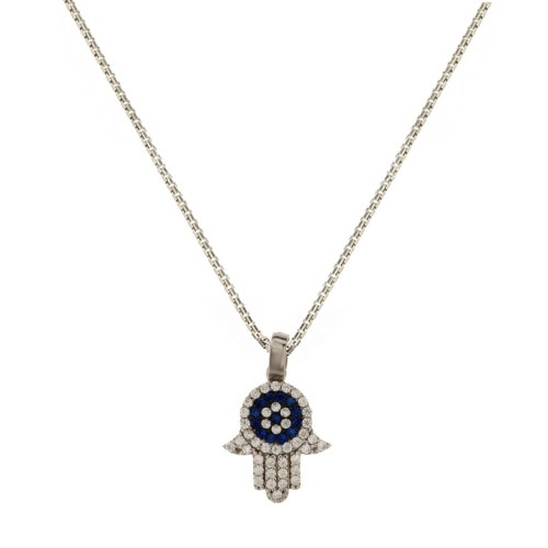 18k White gold with white and blue cubic zirconia hand of Fatima pendant woman necklace