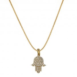 Yellow gold 18k 750/1000 with white cubic zirconia hand of Fatima woman necklace