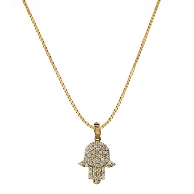 18k Yellow gold with white cubic zirconia hand of Fatima pendant woman necklace