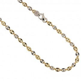 Yellow and white gold 18k 750/1000 link chain shiny man necklace