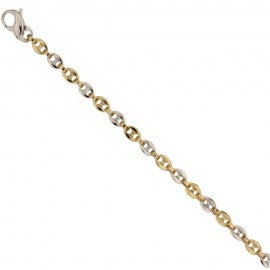 18k 750/1000 Yellow and white solid gold thickness 0.14 inch man bracelet