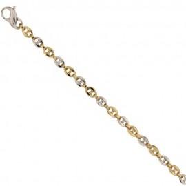 Bracciale in oro giallo e bianco 18 Kt 750/1000 a maglia marina spessore 3.5mm da uomo