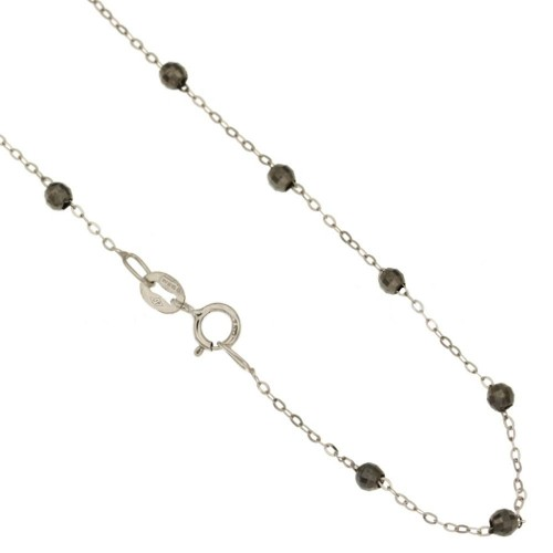 18k White and black gold, with alternating multifaceted spheres rolo chain