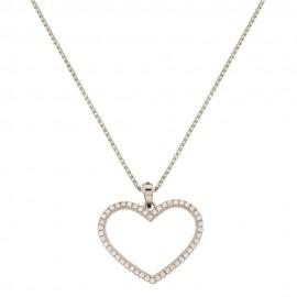 Collana io oro bianco 18 Kt 750/1000 con pendente a forma di cuore e zirconi da donna