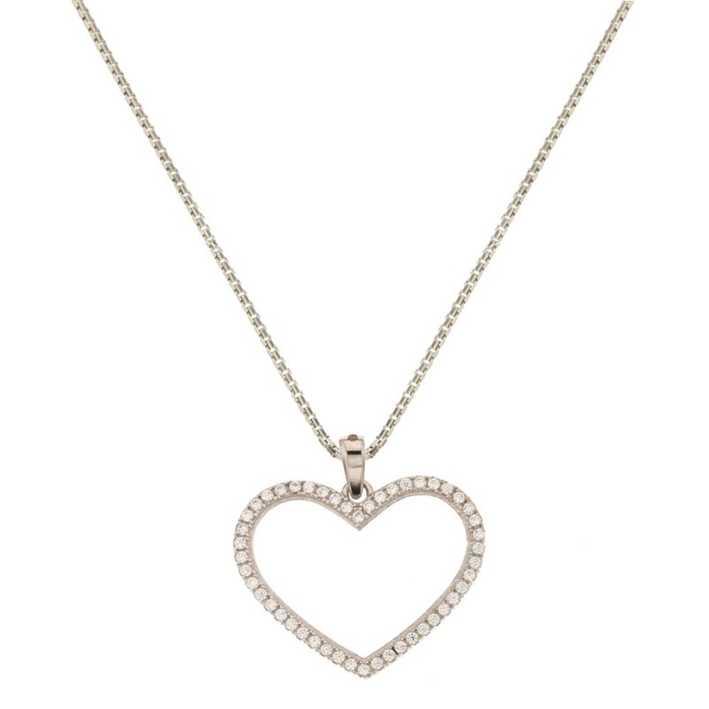 18k White gold with heart shaped pendant woman necklace