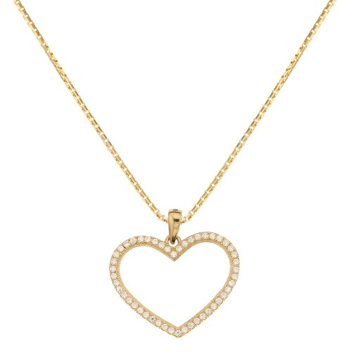 18k Yellow gold with heart shaped pendant woman necklace