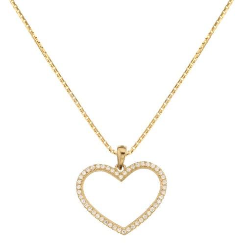 Collana io oro giallo 18 Kt 750/1000 con pendente a forma di cuore e zirconi da donna