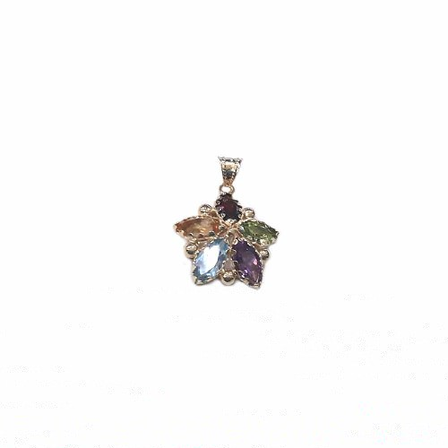 18k Yellow gold with colored quartz flower shaped woman pendant