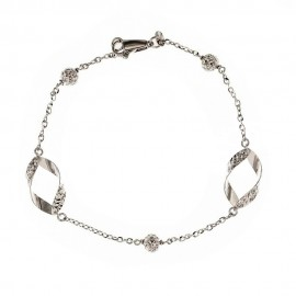 18k White gold, shiny and hammered elements woman bangle