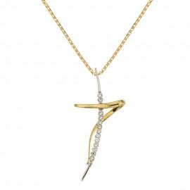 Collana con croce stilizzata in oro giallo e bianco 18 Kt 750/1000 da donna