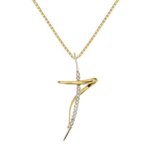 prezzo competitivo f795a 64c05 Collana con croce stilizzata in oro giallo e bianco 18 Kt 750/1000 da donna