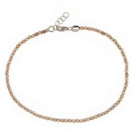 Bracciale in oro bianco e rosa 18 Kt 750/1000 a sfere sfaccettate da donna