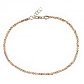 White and rose gold 18 Kt 750/1000 with hammered spheres woman bangle