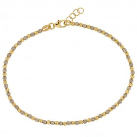 Bracciale in oro bianco e giallo 18 Kt 750/1000 a sfere martellate da donna