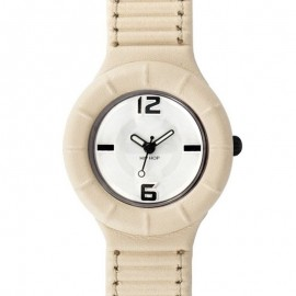 Hip Hop beige leather unisex watch HWU0142