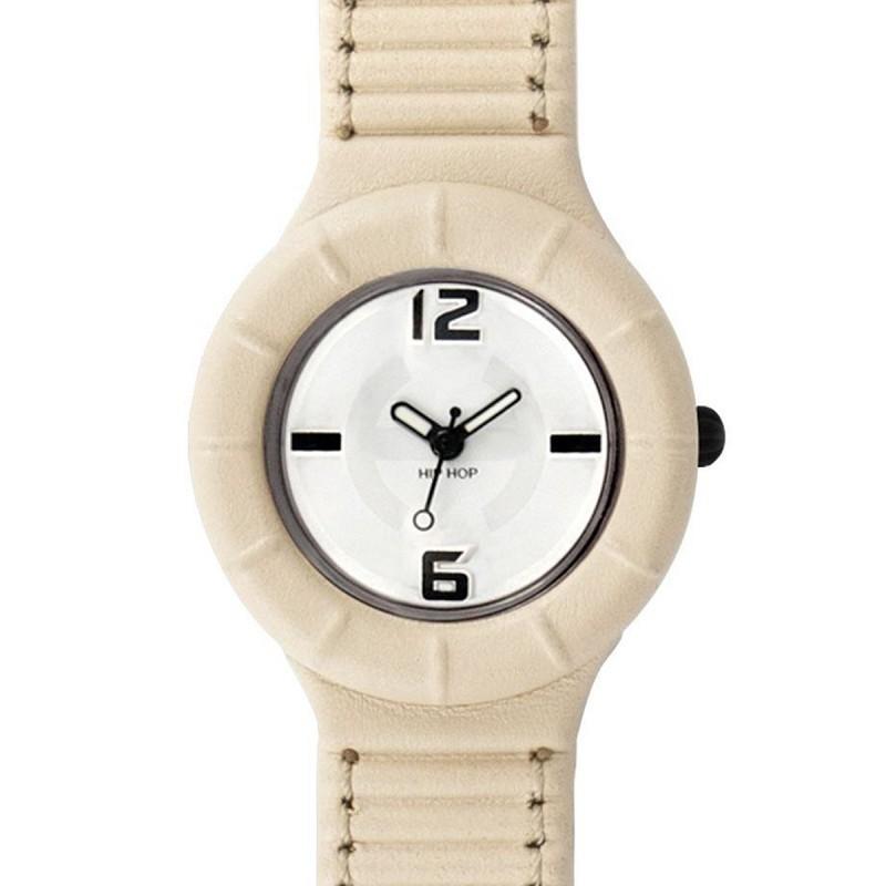 Hip Hop beige leather unisex watch HWU0142