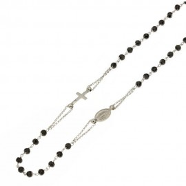 White gold 18k 750/1000 with black onyx and cubic zirconia rosary necklace