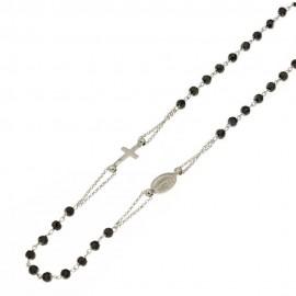Collana Rosario in oro bianco 18 Kt 750/1000 unisex a giro con pietre nere