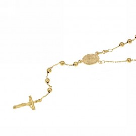 Yellow gold 18Kt 750/1000 with shiny spheres Rosary necklace
