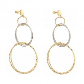 Yellow and white gold 18k 750/1000 hoops woman earrings