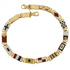 Bracciale in oro giallo 18 Kt con bandierine colorate