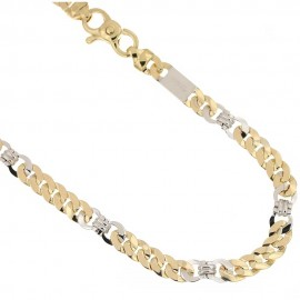 Yellow and white gold 18k 750/1000 alternating man chain