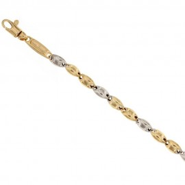 Yellow and white gold 18k 750/1000 traversino type man bracelet